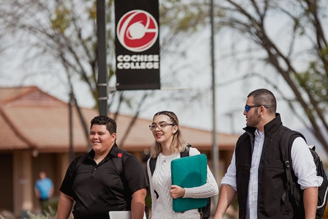 Three students walking together on Cochise College campus